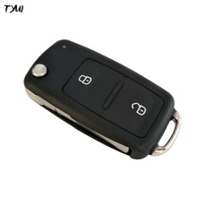 TYUI New 2 Buttons Car Key For VW Flip Remote Key Case Fob Replacements With LED Light on Top