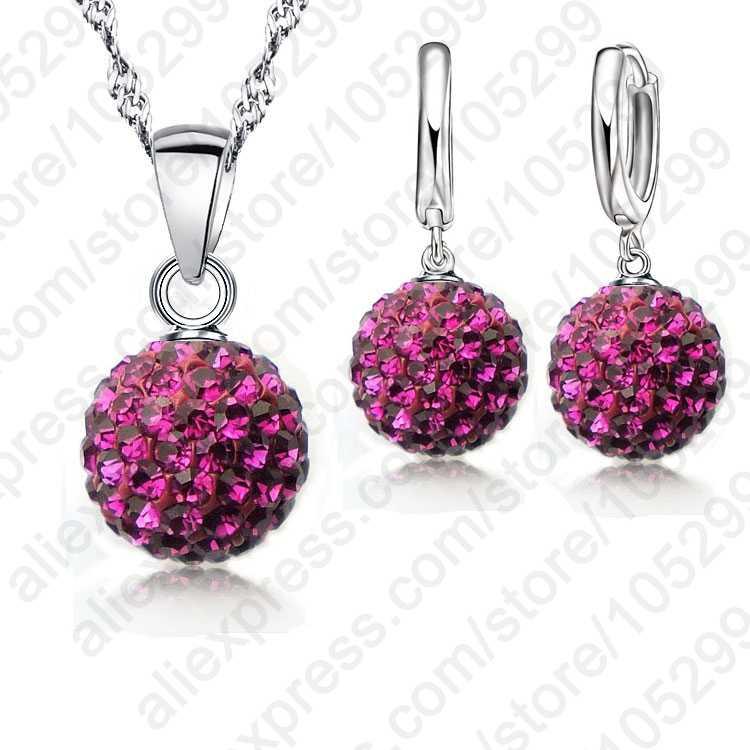 Heiße Neue Schmuck Sets 925 Sterling Silber Österreichischen Kristall Pflastern Disco Ball Hebel Zurück Ohrring Anhänger Halskette Frau