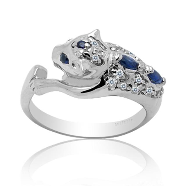Anel de prata para o homem de luxo natural sapphire prata bule escuro anel real stamped 925 prata estilo leopard anel de pedras preciosas para homem