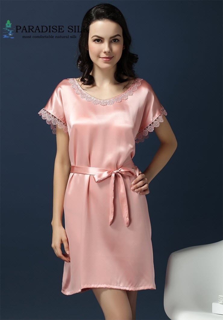 Home Dress 100 Pure Silk Women Lacy Short Sleeves Chemise One Size