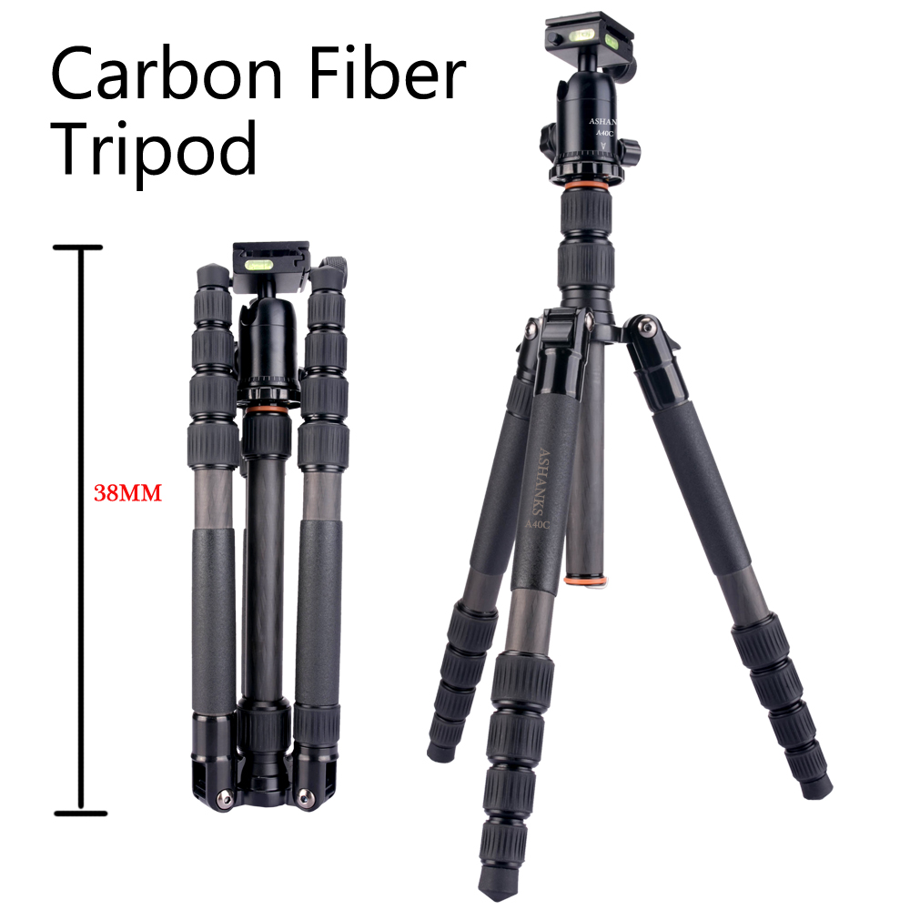 ASHANKS A 40C Professional Portable Carbon Fiber Black Tripod Monopod For DSLR Camera camera stand with