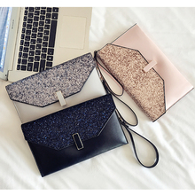 Luxury Sequined Casual Leather Clutch Bag
