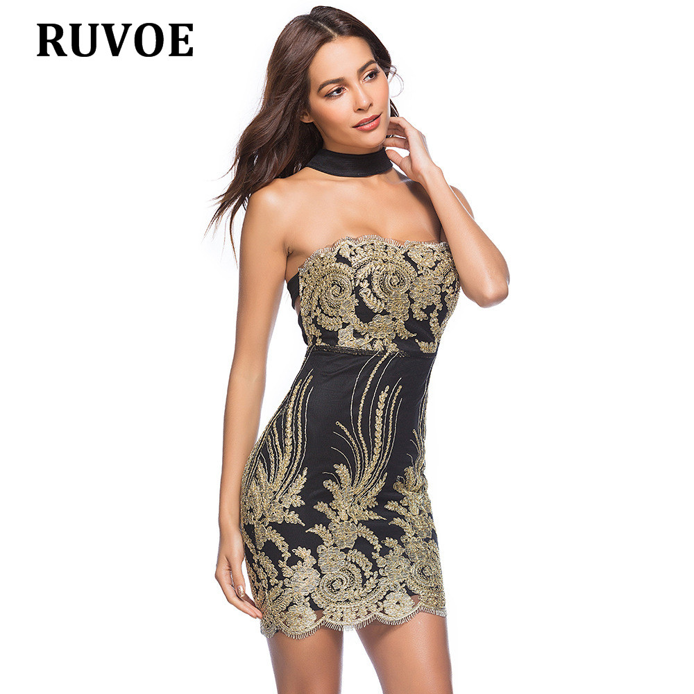 5aa07234646 2018 Sexy sleeveless halter gold black sequin dress backless Christmas  party dress mini XXL short celebrity clubwear plus size-in Dresses from  Women s ...