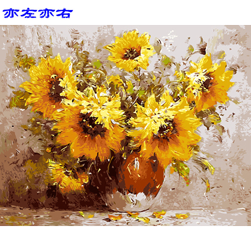 sunflower Confess Flower DIY Digital Painting By Numbers Modern Wall Art Canvas Painting Unique Gift Home Decor 40x50cm