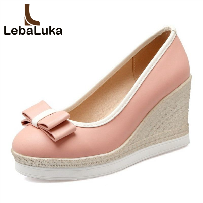 9bbd0b2b36 LebaLuka-Classic-Women-Wedges-High-Heels-Platform-Round-Toe-Pumps-Women -Girls-Bowtie-Slip-on-Zapatos.jpg
