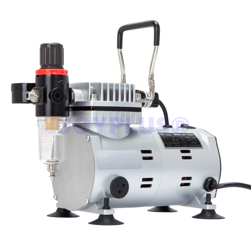ФОТО Professional High Performance Single-Piston Airbrush Air Compressor with Regulator, Gauge & Water Trap Filter 220-240V EU PLUG