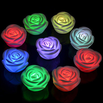1PCS Decrated Romantic LED Candle Rose Flower Candlelight Dinner Night Lights Candles