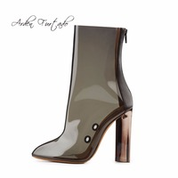 Arden Furtado 2018 summer boots for woman clear pvc high heels 10.5cm  fashion ankle boots d94ef0d9a46a