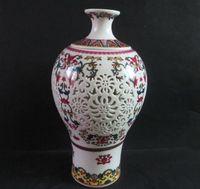 Mooie Chinese oude keramische dubbele holle-out vaas, geschilderd met gunstige bloem ontwerpen