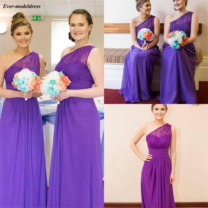One Shoulder Lace Chiffon Country   Bridesmaid     Dresses   Long 2019 Purple Illusion Maid Of Honor   Dresses   Cheap Plus Size vestido