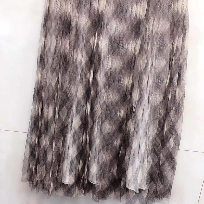 Элегантные длинные юбки для женщин, милая офисная юбка с принтом для леди 2019, модные юбки с высокой талией, новые женские юбки - 3