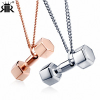 Fitness dumbbell pendant lovers accessories European and American fashion men and women titanium steel necklace