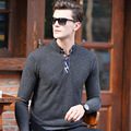 Men's Cashmere Sweater Polo Collar Wool Sweater Premium Quality Check Patchwork England Style S-XXL Free Shipping