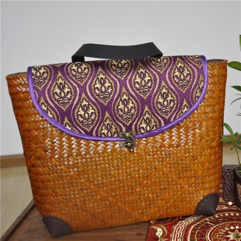 ФОТО DUDINI Straw Bag Summer Hand-Woven Beach Bag Fashion Women's Backpacks Shoulders Bags Embroidery Design Straw Casual Travel Bags