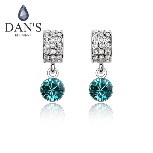 DAN'S ELEMENT Austrian Crystals AAAA Level White Gold Color Fashion Stud earrings for women Trendy #82568