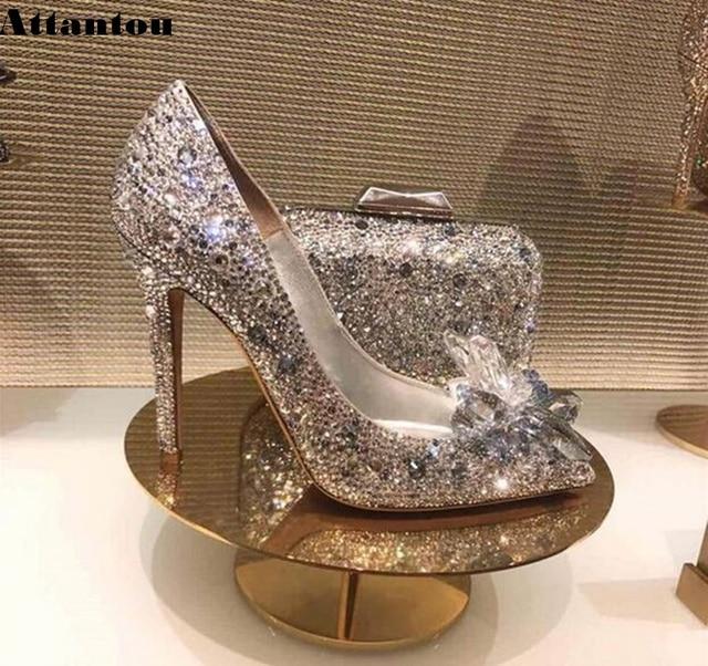 Black Crystal Cinderella High Heels Women Pumps Sexy Gladiator Thin Heels Women Rhinestone Slip On Party Shoes Size 33 to 41 1