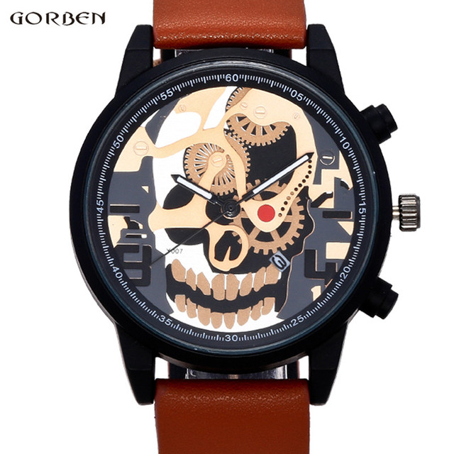Cool Man Watch Unique Design Skull Watch Men Clock 2017 New ...