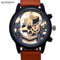 Cool Man Watch Unique Design Skull Watch Men Clock 2017 New Fashion Mens Wristwatches Quartz Watch