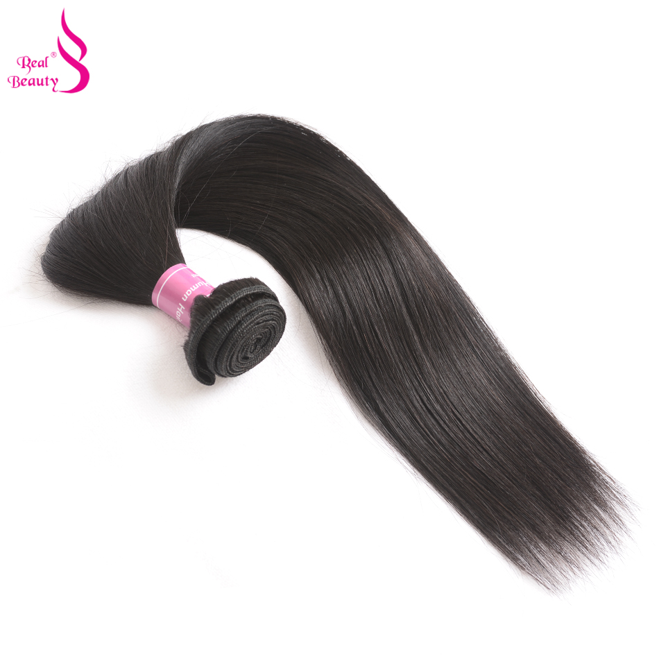 Real Beauty 8-30 Inch Indian Straight Hair Weave Can Buy 3or 4 Bundles 100% Human Hair Bundles Non-Remy Hair Machine Double Weft ...