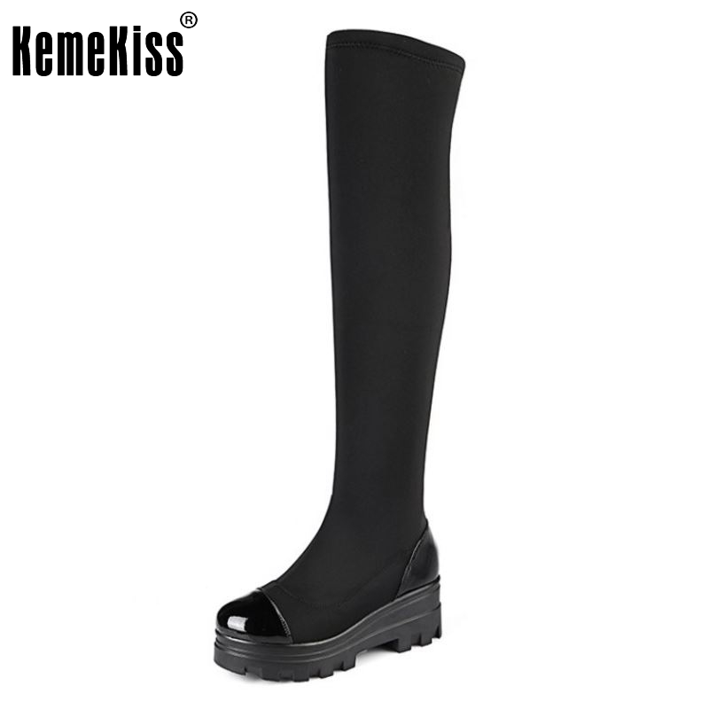 Women Genuine Leather Platform Knee-High Boots Woman Thick High Heels Fashion Thigh High Autumn Long Shoes Size 33-43