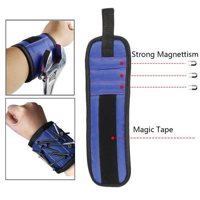Magnetic Wristband Portable Small Tool Bag Magnetic Bracelet For Tools 23 Magnets Screws Nails Drill Bits Electrician Bag
