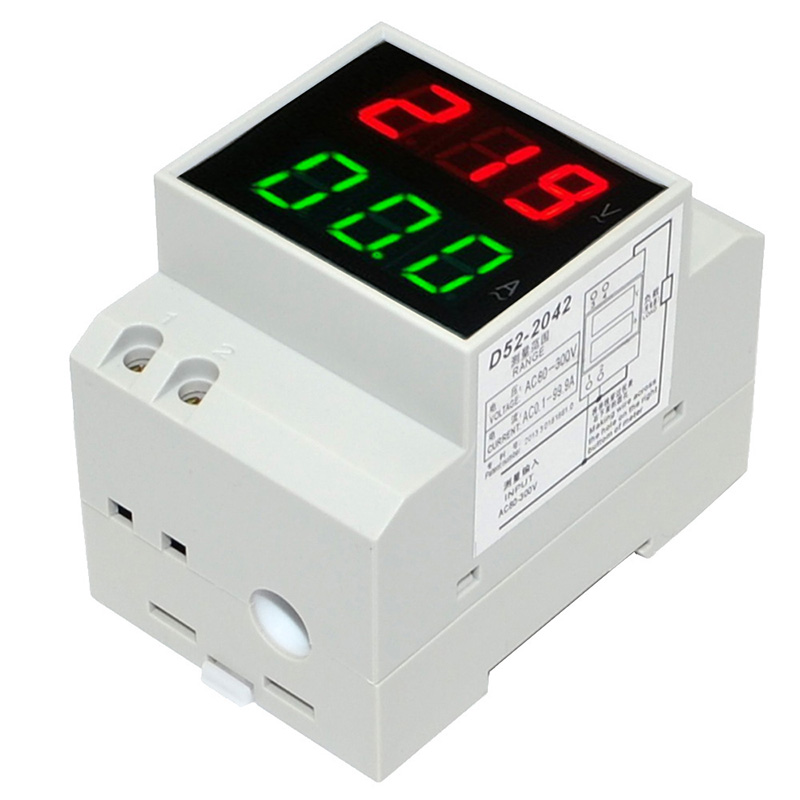 DIN Rail Led Display Voltmeter Ammeter Built-in Transformer AC80-300V 200-450V 0-100A Panel Voltage Current Meter