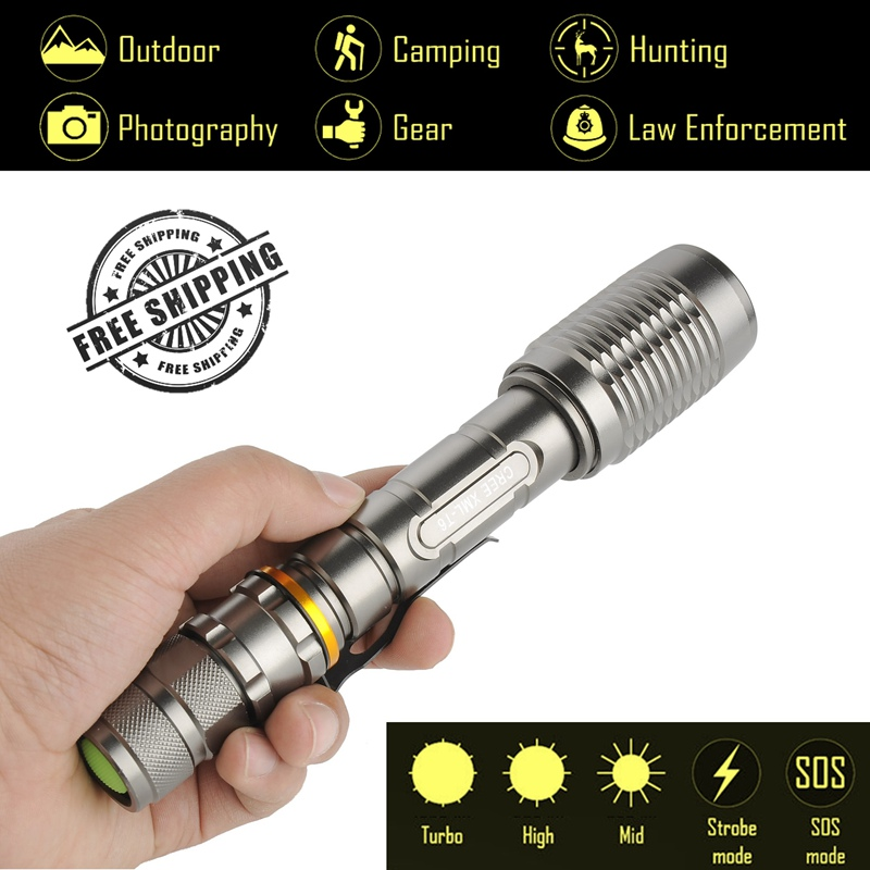 Explorer-AP Powerful LED Flashlight 3800Lm CREE XM-L T6, 5 Modes Tactical Flashlight, Torch light 2x18650 Battery, Military 3800lm cree xm l t6 5 modes led tactical flashlight torch waterproof hunting flash light lantern zaklamp taschenlampe torcia