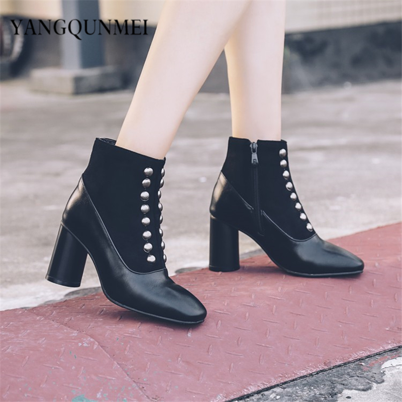 Boots PU 2017 new rivet  Woman's shoes big 44 45 46 47 40 41 42 43 high heel 7CM EUR Size 32-48 4 pcs replacement for bosch rechargeable battery 18v 4 0 ah li ion battery for bosch 17618 bat609 bat618 with led light