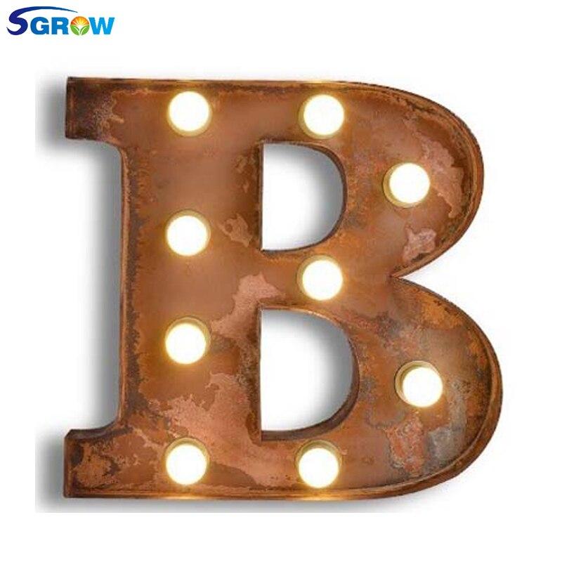 SGROW Metal Letter B Wall Lamp Light for Bedroom Living Room Art Lampara Industrial Creative Lights Logo B Iron Billboard Lamps|Wall Lamps| |  - title=