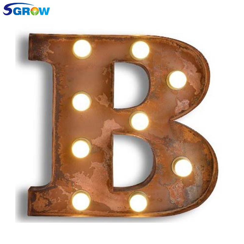 SGROW Metal Letter B Wall Lamp Light for Bedroom Living Room Art Lampara Industrial Creative Lights Logo B Iron Billboard Lamps