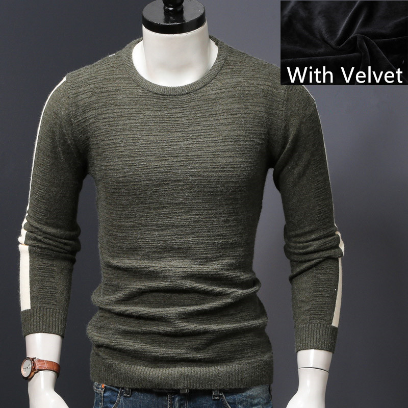 Мужской зимний свитер вязаный пуловер Свитера Осень и весна тонкие мужские топы tide man Одежда - Цвет: gray green velvet