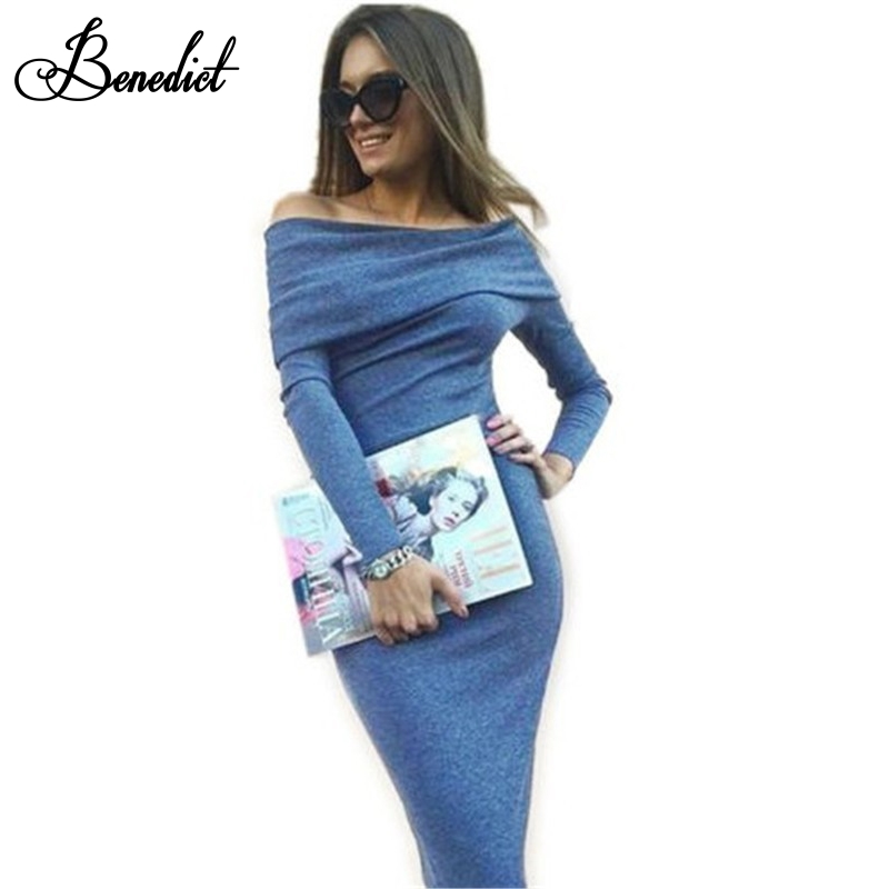 Benedict Long Sleeve Off Shoulder Slash Neck Sexy Club Women Dress Slim Bodycon Knitted Sweater Mid-Calf Party Night Dresses