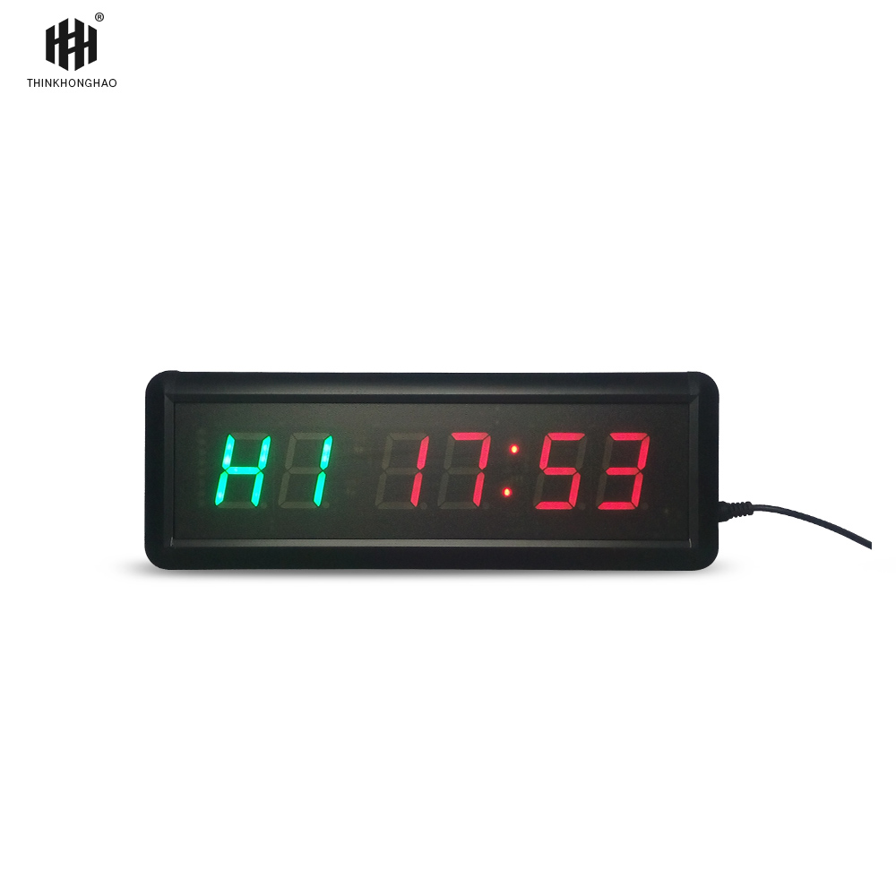 1.5Inch 6 Digit LED Timer Boxing GYM Crossfit Tabata EMOM Interval Programmable Countdown/UP Stopwath Real Time Clock
