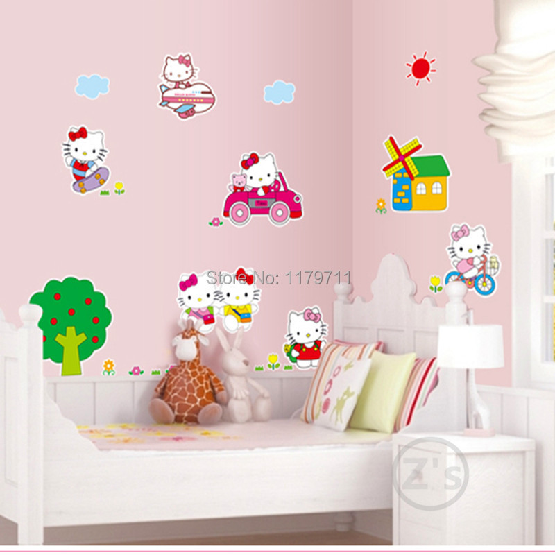 Hello Kitty Wall Sticker Home Decor Cartoon Wall Decal Diy For Kids Room  Decal Baby Vinyl Mural Nursery AY619 In Wall Stickers From Home U0026 Garden On  ... Part 90