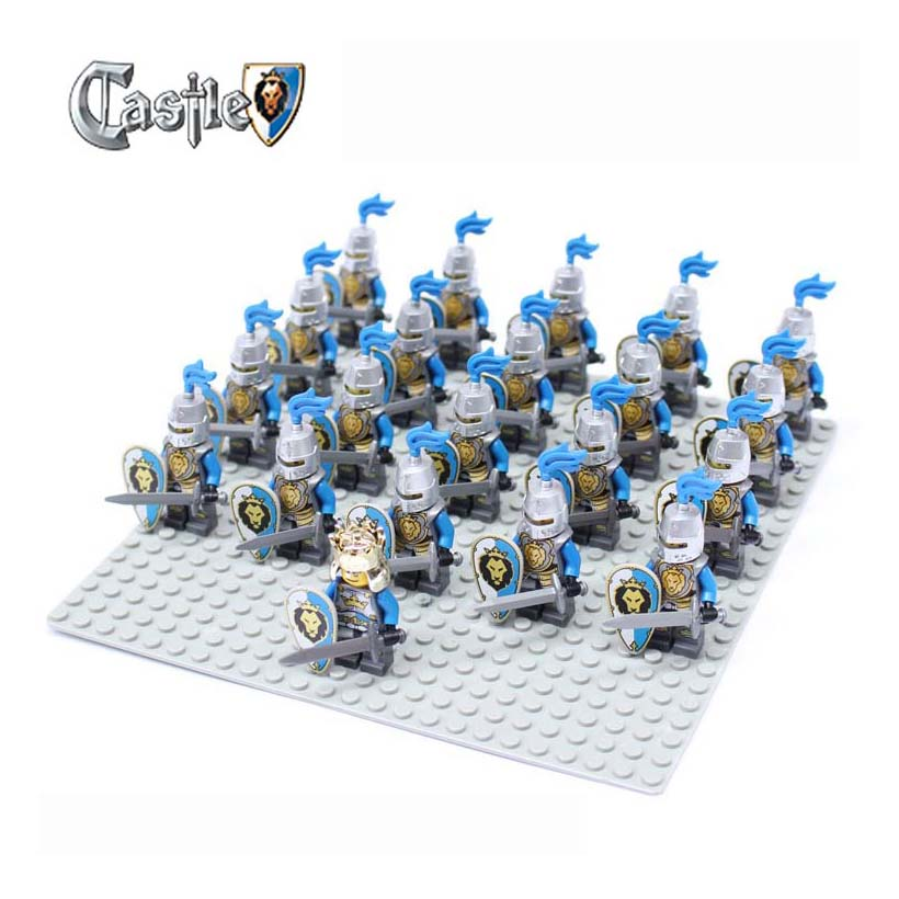 21pcs Castle Knights Green Dragon Knight Sliver Hawk Blue Lion compatible Building Block Brick accessory Sluban Decool figures enlighten new 2315 656pcs war of glory castle knights the sliver hawk castle 6 figures building block brick toys for children