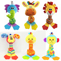 Infant Baby rattles  toys giraffe/monkey/lion/the elephant/dog/duck model plush toy baby boys girls Educational BB rattles