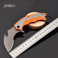 Jeslon CS GO Hunting Karambit Knife Foldable Counter Strike Fight Survival Tactical Knife Claw Camping Neck