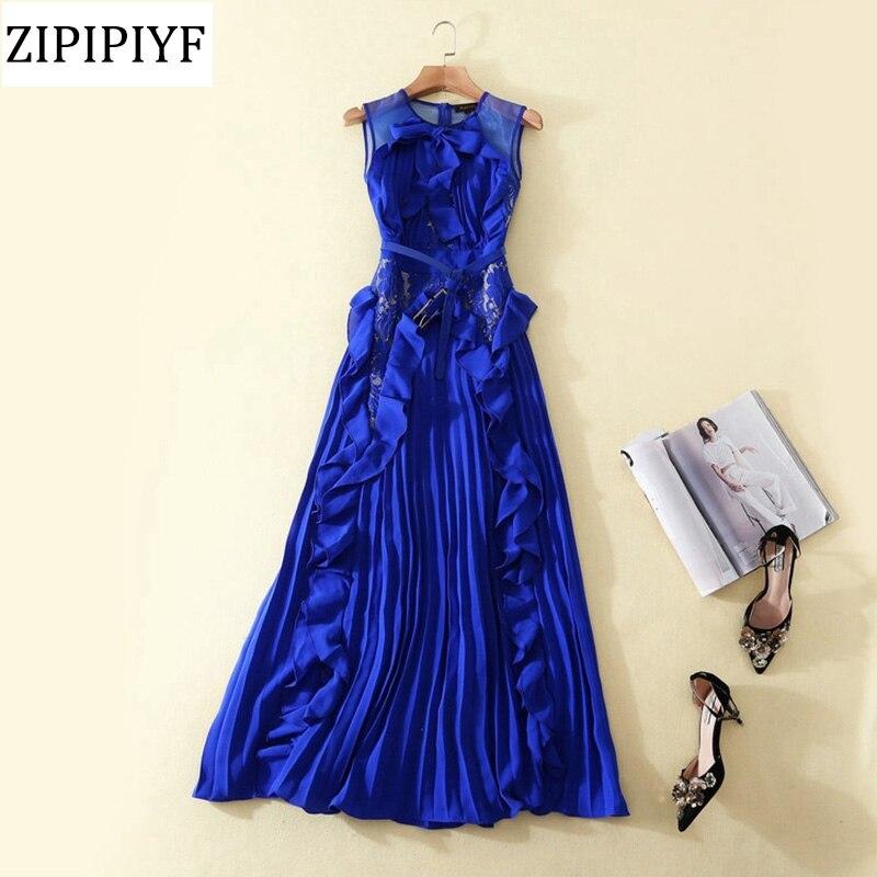 Здесь продается  Women Black Chiffon Lace Sleeveless Maxi Dress 2018 Spring Elegant Fashion Lady Laciness Tank Pleated Long Dress Vestidos VXR081  Одежда и аксессуары