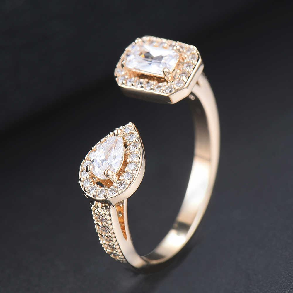 Missvikki 3 cores fahion nupcial anéis de casamento openning qualidade superior ajustável com cristal austríaco claro