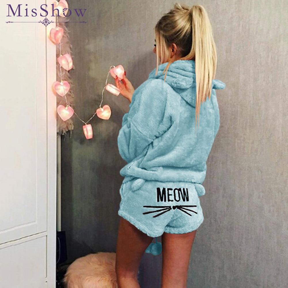 a7b41bf46eb Women Pajama Sets 2018 Flannel Cartoon Autumn winter Warm pijama plus size  Pyjamas Hooded Sleepwear Cat female Animal pajama