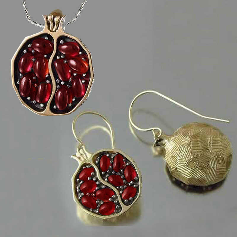 Vintage Fruit Fresh Red Garnet Earrings Pendant Necklace Gold Color Resin Stone Pomegranate Jewelry Gift For Women Gifts Z5M269