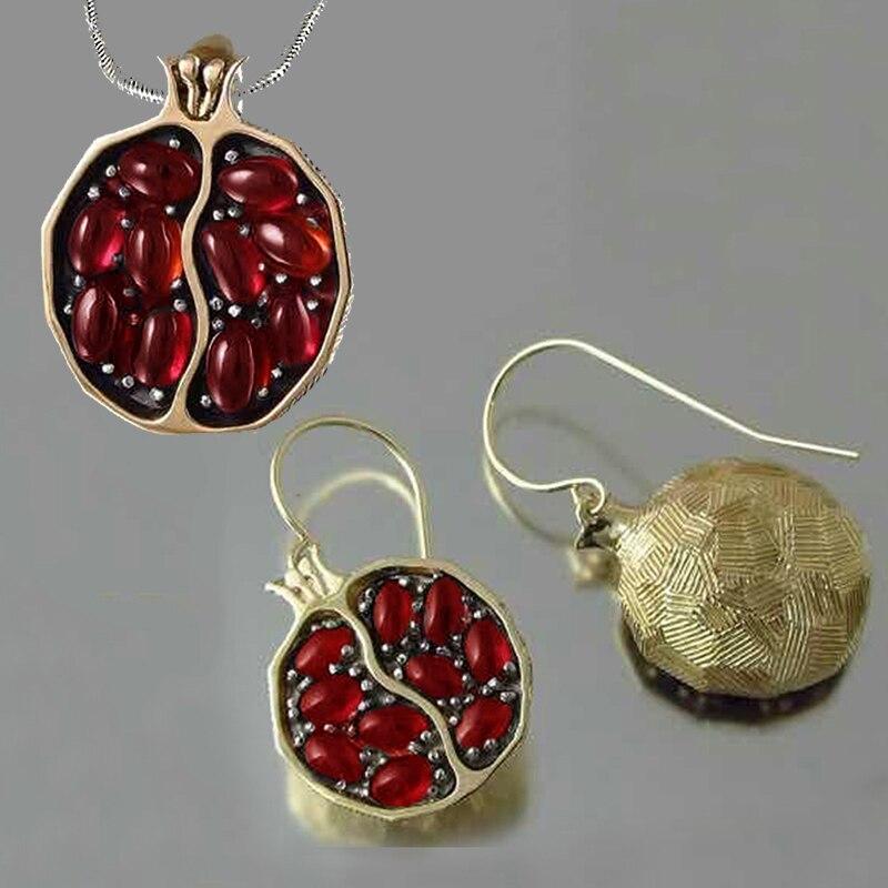 Vintage Fruit frais rouge grenat boucles d'oreilles pendentif collier couleur or résine pierre grenade bijoux cadeau pour les femmes cadeaux Z5M269