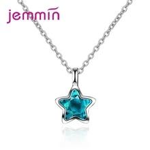 Высокое качество, прозрачный голубой кубический циркон, симпатичный в форме звезды для женщин, девушек, 925 пробы, серебряное ожерелье с подвеской, Женские Ювелирные изделия, подарок