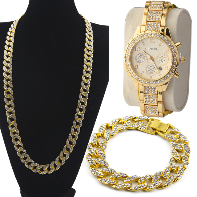 3 Pcs / Set Blingbling Hip Hop Shining stones Watch and Necklace 2