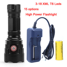 2018 New Powerful 3 - 18 x XM-L T6 LED Flashlight Torch USB Rechargeable 18650 26650 Battery Fishing Lamp Light Lantern super power 3 18 xm l t6 led flashlight torch lamp flash light waterproof fishing hunting lamp use rechargeable 18650 battery