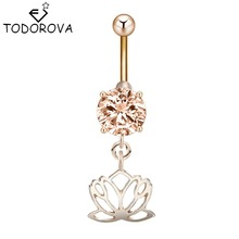 Todorova Belly Button Rings New Arrival Body Jewelry Unique Lotus Flower Dangle Zircon Jewelry Navel Piercing Ombligo Nombril