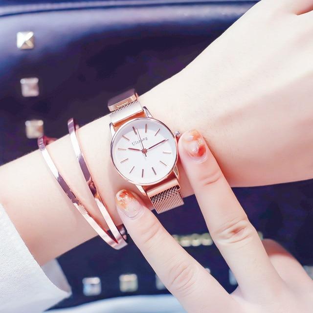 Ulzzang Brand Luxury Rose Gold Women Watch Stainless Steel Mesh Magnetic Ladies