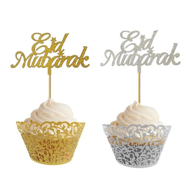 US $6 69 24% OFF|20pcs Glitter Gold Silver Eid Mubarak Ramadan Mubarak  Umrah Mubarak Cupcake Toppers For Muslim Eid Party Cake Decoration-in Cake
