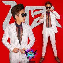 Europe present proper Zhilong male singer clothes males's DJ white silver plating flash diamond Leisure Blazers Fashion go well with costumes