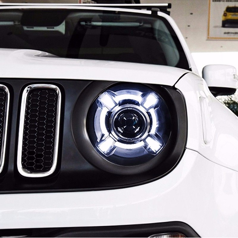 Car Styling HID Headlights For Jeep Renegade Led Headlights For Renegade Head Lamp Angel Eye Led